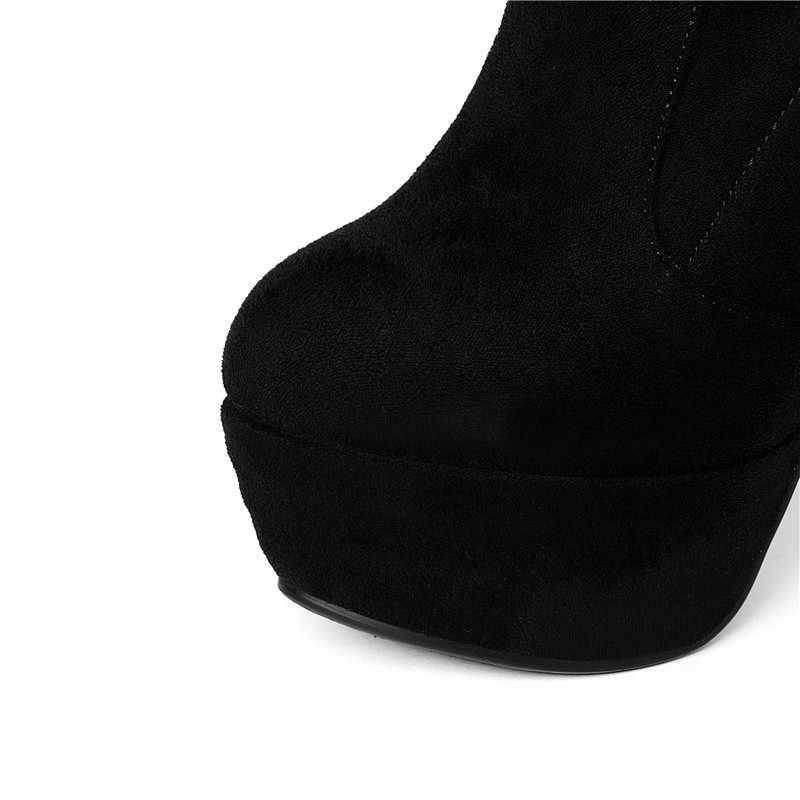 MEMUNIA diz çizmeler üzerinde seksi bayan parti ince topuklu ayakkabılar kadın akın katı platform çizmeler ilkbaharda sonbahar artı boyutu 34-43