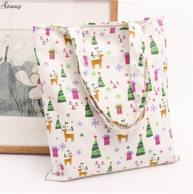 Elk Printed Women Handbags Canvas Tote Bags Reusable Cotton Grocery Ping Bag Web Eco Foldable