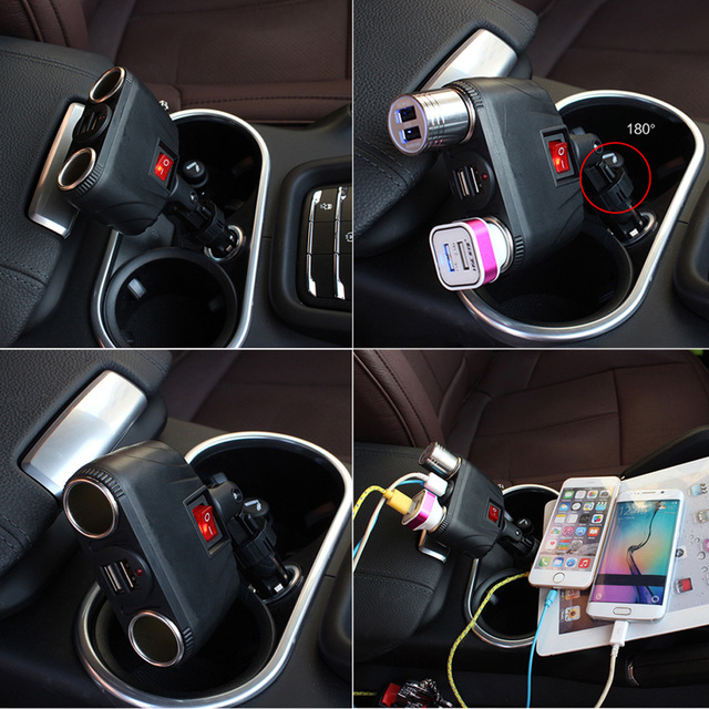 180 Adjustable Angle 3.1A Dual USB Ports Dual Cigarette Lighter Receptacle + Switch Car Charger  Built-in Short-circuit for Auto