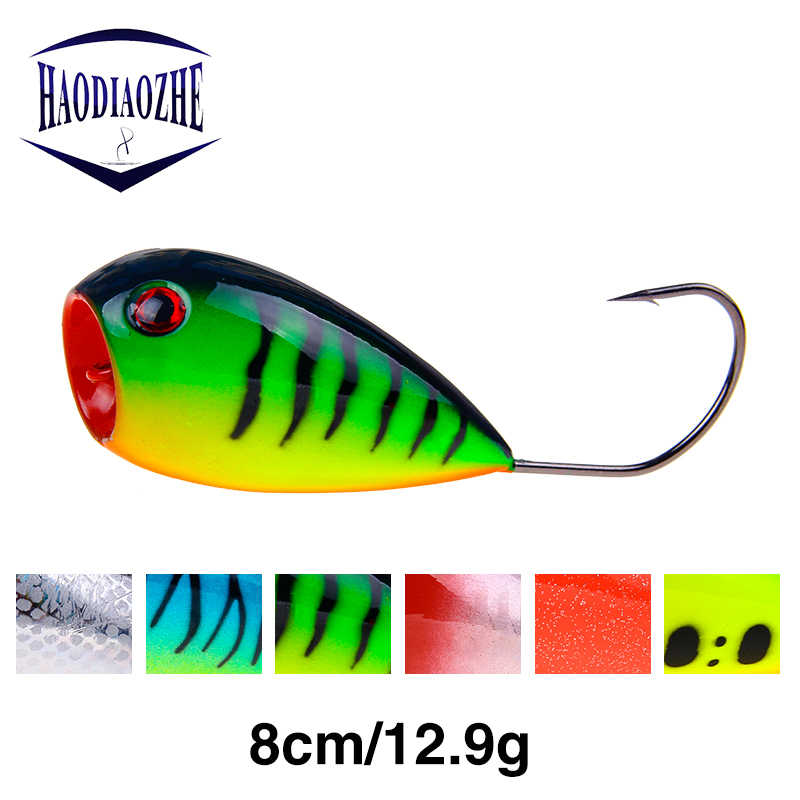 HAODIAOZHE Popper Croatian EGG Hard Bait Floating Fiishing Lure 8cm 12.9g Crank Bait Artificial Swim Wobblers Single Hook YU160