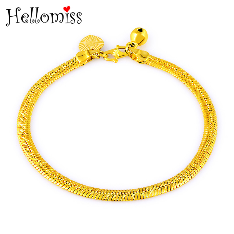 Yellow Gold Filled Bracelet Women Africa Gold Jewelry Snake Chain Bangles Bracelets Fashion Accessories Pulseras Femme Hellomiss