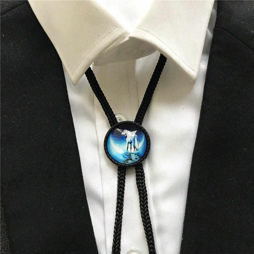 Jednorożec wzór mężczyźni kobiety moda krawat Bolo chłopcy dziewczęta studenci biżuteria łuk krawaty szyi odzież dla Party prezent