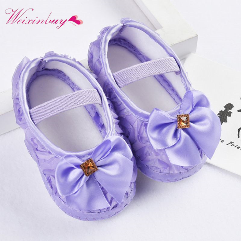 Baby Girl First Walkers Shoes Todder Prewalker Rose Flowers Bow Princess Shoes Newborn Baby Soft Sole First Walkers