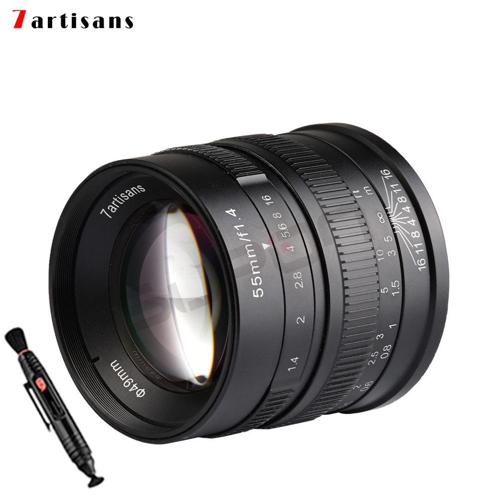 7artisans 55mm/f1.4 Large Aperture Portrait Black Manual Fixed Camcorders Professional Lens For Fujifilm FX Mount X-Pro2 T10 T2