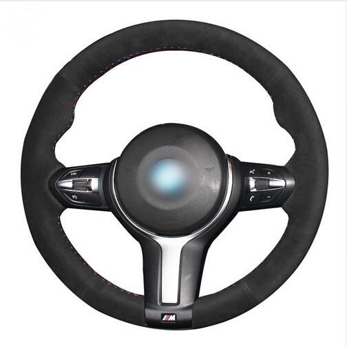 Black Suede Car Steering Wheel Cover for BMW F33 428i 2015 F30 320d 328i 330i 2016