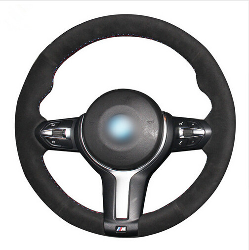 Black Suede Car Steering Wheel Cover for BMW F33 428i 2015 F30 320d 328i 330i 2016 M3 M4 2014-2016