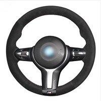 Black Suede Car Steering Wheel Cover for BMW F33 428i 2015 F30 320d 328i 330i 2016 M3 M4 2014 2016