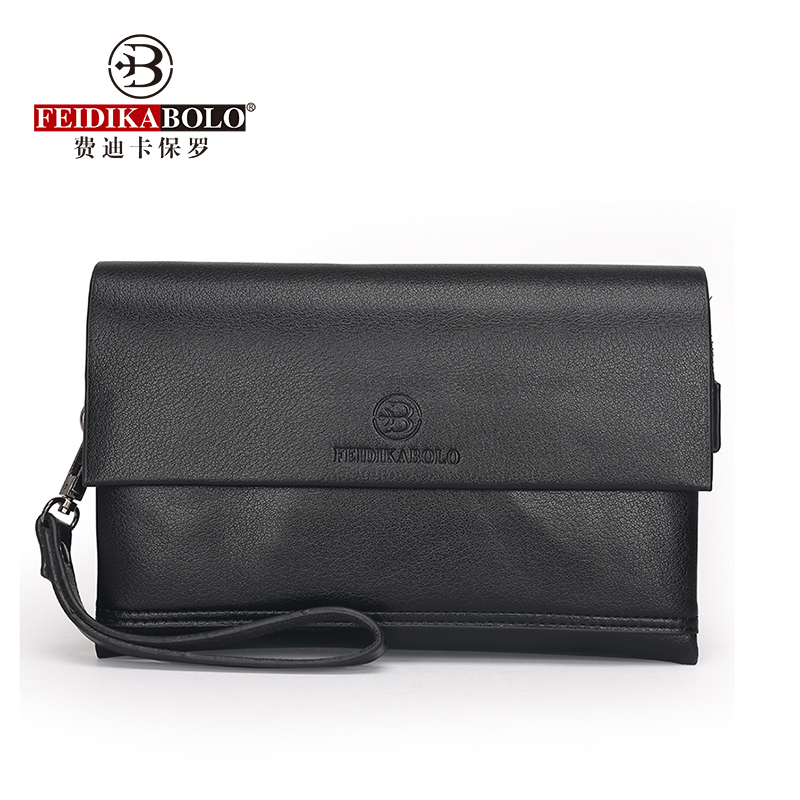 FEIDIKABOLO Excellent Quality Men's Clutch Bag Fashion Three Folder Large-Capacity Business Bag Personality Casual Mobile Wallet