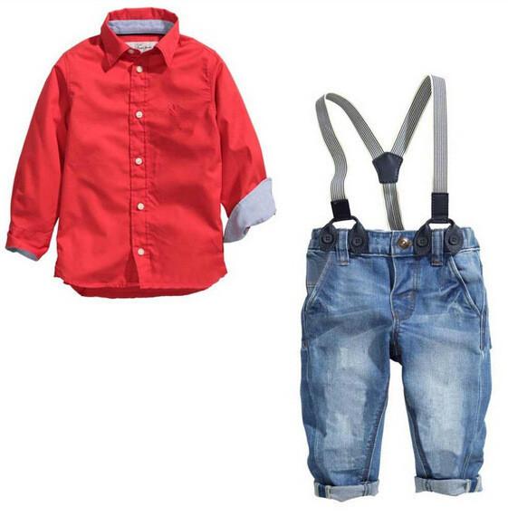 Conjunto de roupas terno do bebê do menino moda agradáveis Crianças cotton longo-luva camisa vermelha + spaghetti cinta + calça jeans idade para 2 3 4 5 6 anos