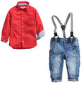 fashion boy's clothing set baby suit nice Kids cotton long-sleeve red shirt+spaghetti strap+jeans age for 2 3 4 5 6 years