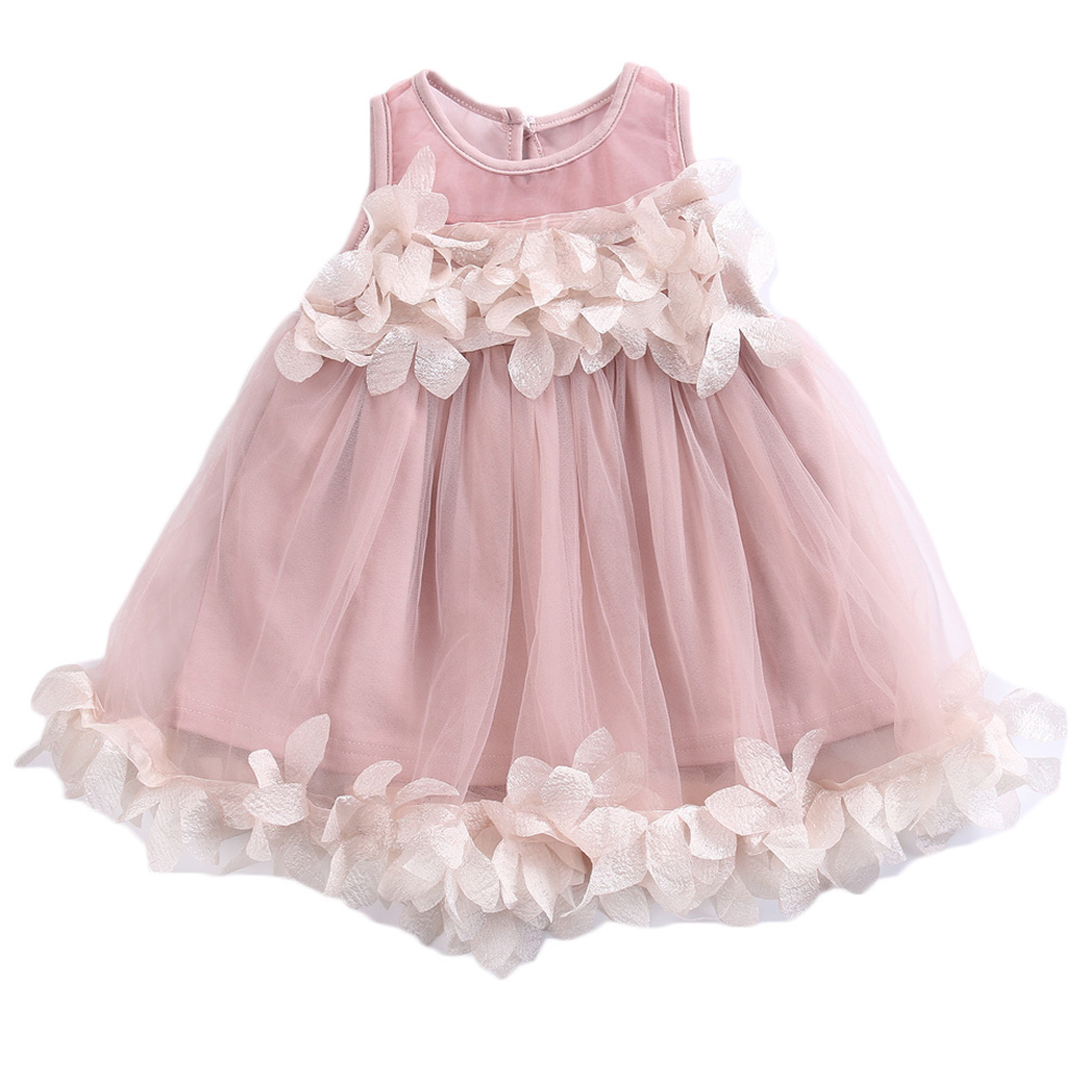 Fashion Baby Girls Lace Tulle Petals Gown Dress Bridesmaid