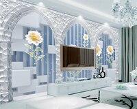 Beibehang كبيرة مخصصة 3 د خلفيات الأوروبية الملون الصقيل قوس ديزي خلفيات صور غرفة الجلوس إعداد التلفزيون جدار خلفية