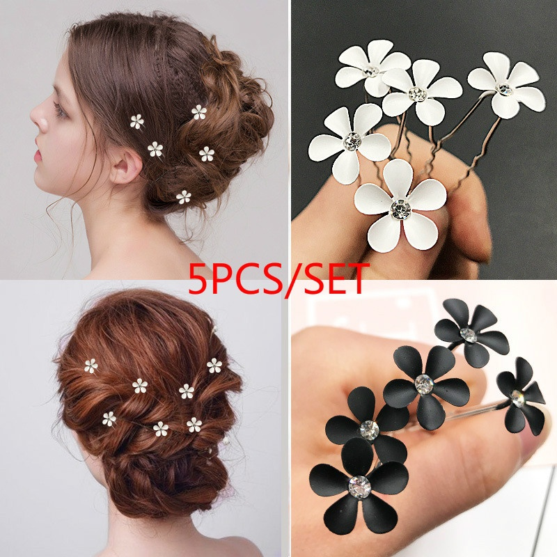 5pcs Fresh hairpin plug pin alloy u-type small flower hair accessory hair stick hair ornaments opal flower pair hair sticks jiao xiao also pinchcock classical hair stick vintage jewelry hanfu costume hair accessory
