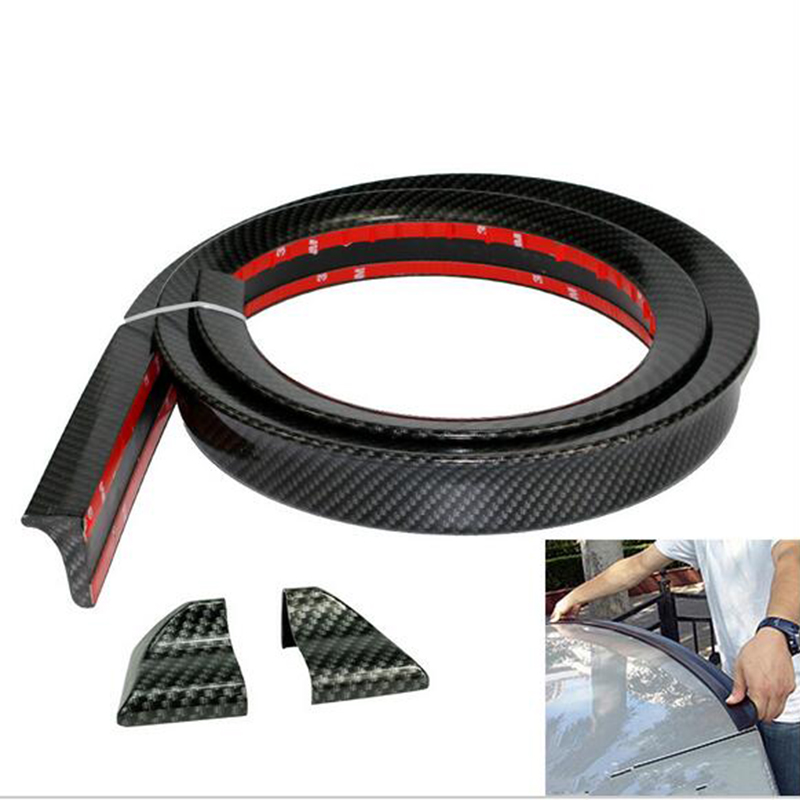 PU Carbon Fiber Trunk Lip Wing or Roof Spoiler Body Kit Trim Sticker 1.5 Meters for Audi A3 A4 A5 A6 A7 A8 Universal
