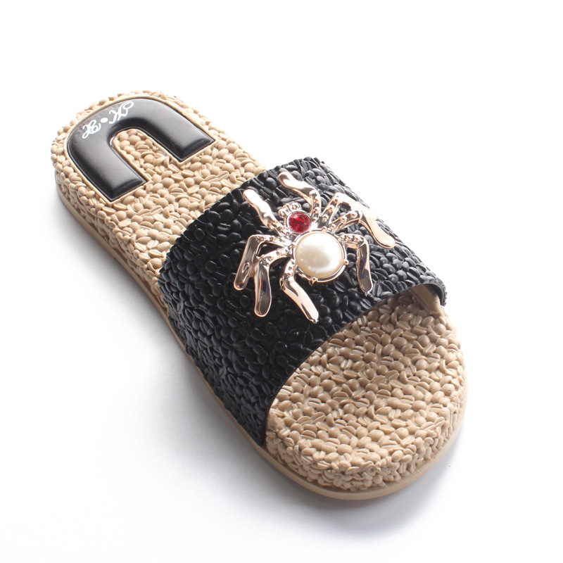 flip flops slides shoes women Slippers Female Summer Fashion Popcorn Flat heeled Anti skid bed slippers fur loafers Outside in Slippers from Shoes