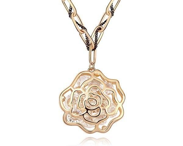 Mode Noir Fleur Rose Long Collier Pull Chaîne Cristal Femme Bijoux Cadeau