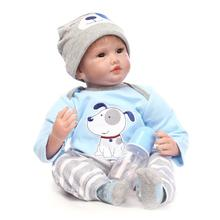 22″ Silicone Reborn Baby Boy Doll Toy Play House Bedtime Toys for Girls Brinquedos Soft Boneca Baby Doll in Blue Puppy Clothes