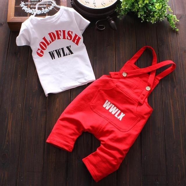 Baby Boy Clothing Set 2017 Summer Cotton Overalls For Baby Boys Tshirt + Sling Letter Pants Infant Clothes Romper Kid Clothes