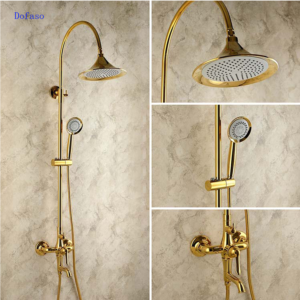 dofaso creative design brass rainfall grohe shower faucet with handshower wall mounted golden tub faucet shower