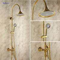 Dofaso Creative Design Brass Rainfall grohe shower faucet with Handshower Wall Mounted Golden Tub faucet Shower Mixer Tap