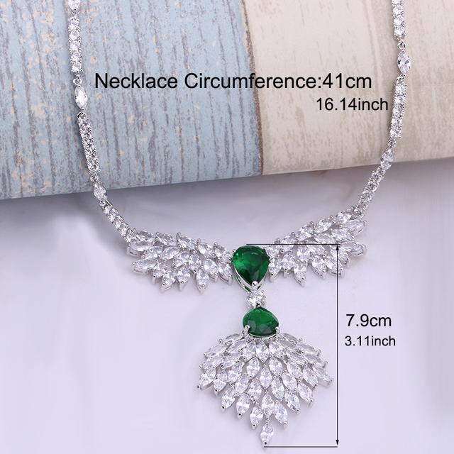 Green Cubic Zironia Jewelry Set Elegant African Wedding Jewelry Sets White Gold Dubai Jewelry Sets parure bijoux femme WS113