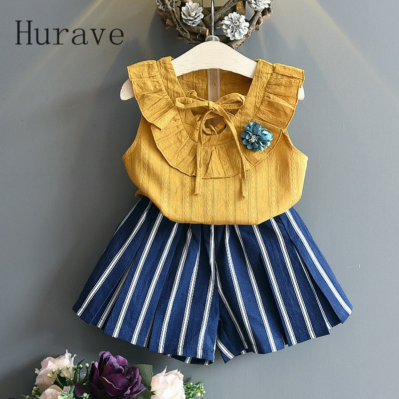 Hurave 2017 New Girls Sets Children Summer Clothing Sets Kids Clothes Floral T-Shirt + Stripe Short 2Pcs Summer Casual Suit