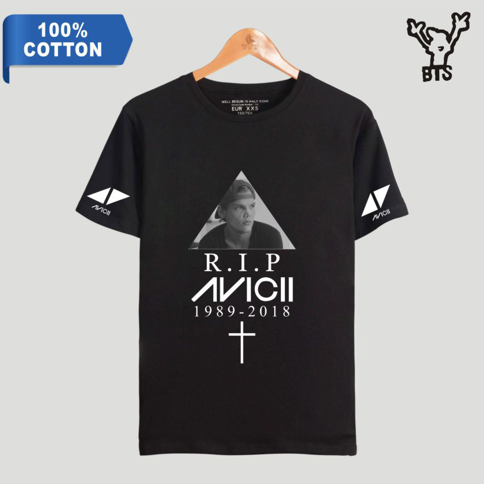 BTS R.I.P Avicii 100% Cotton Men Popular Summer Cool T-shirt Fashion Hot Sale Short Printing Hip Pop Popular TShirt Plus Size