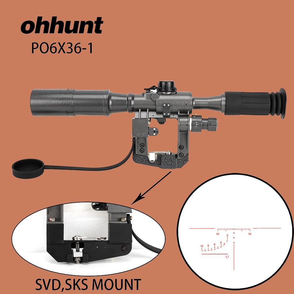 Ohhunt Dragunov SVD POS 6X36 Red Illuminated Hunting Riflescope Tactical Optical Sights For Tigr Saiga Vepr 2 Style Rail Mount