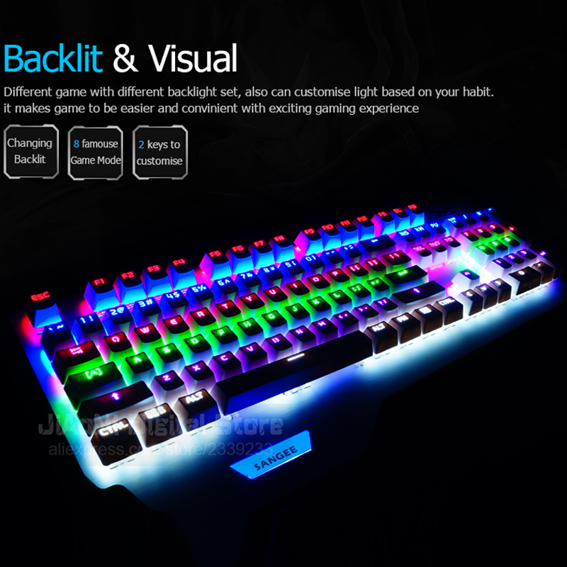Sangee CK104 anti ghosting Mechanical Keyboard Changeable Switches Color Backlit Ergonomic LED Light Professional Teclados Gamer-in Keyboards from Computer ...