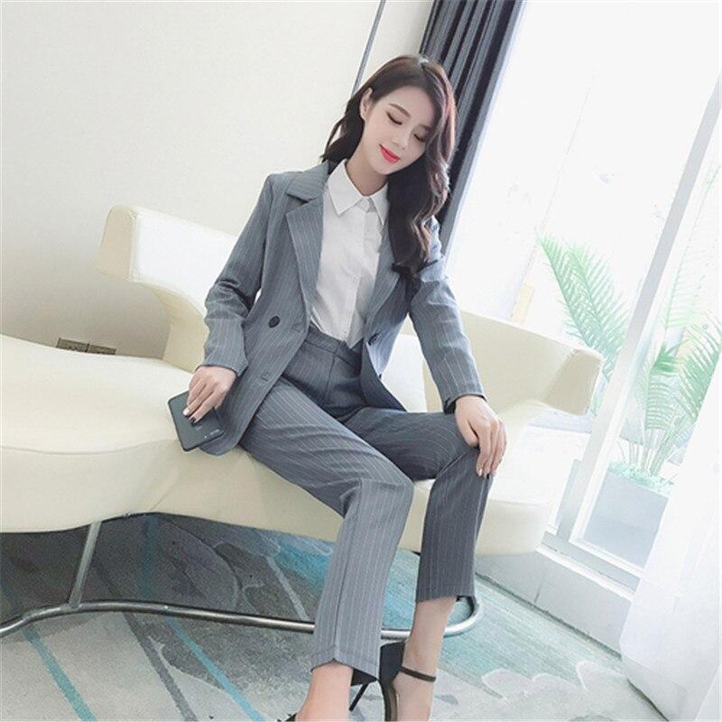 73b393bac 2018 Doble Oficina Piezas Moda Para 2 Mujer Traje Stripe Pecho Unidades  Conjunto De Rayas Blazer Femenino Pantalón Chaqueta ...