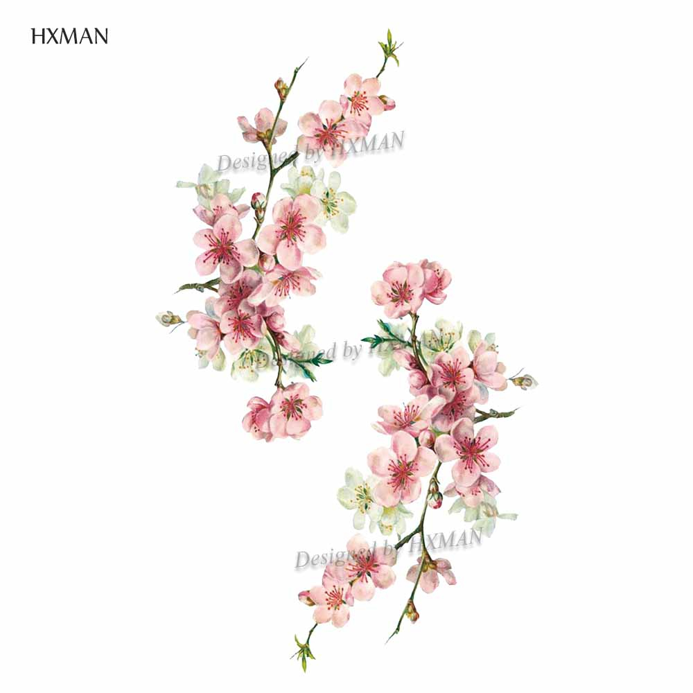 HXMAN Flower Temporary Tattoos Sticker Waterproof Fashion Women Arm Face Fake Body Art 9.8X6cm Kids Adult Hand Tatoo P-063