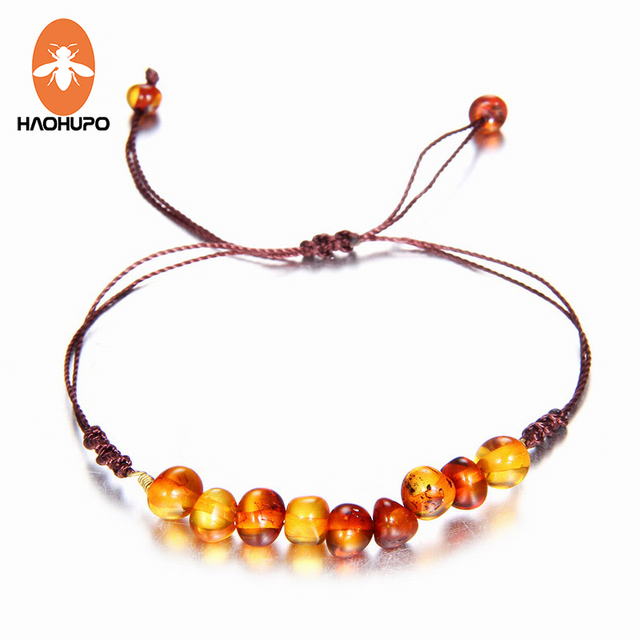 Haohupo 9 New Natural Amber Bracelets For Baby Women Turquiose Amethyst Strand Baltic Beads Bracelet