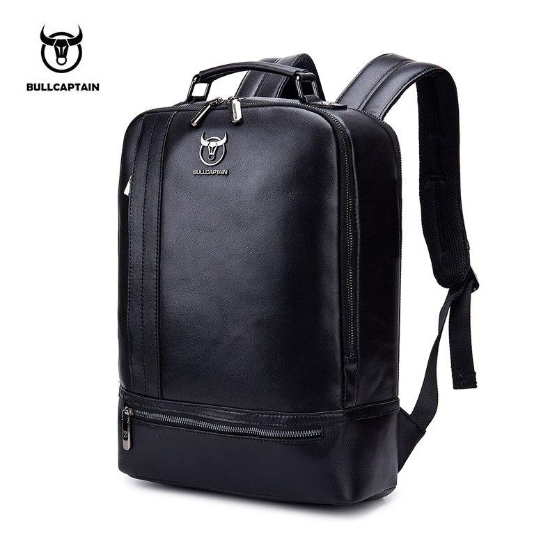 BULLCAPTAIN multifonction unisexe 15 pouces ordinateur portable en cuir de vache sac à dos mode minimaliste mâle Mochila 18L voyage sac à dos pour hommes