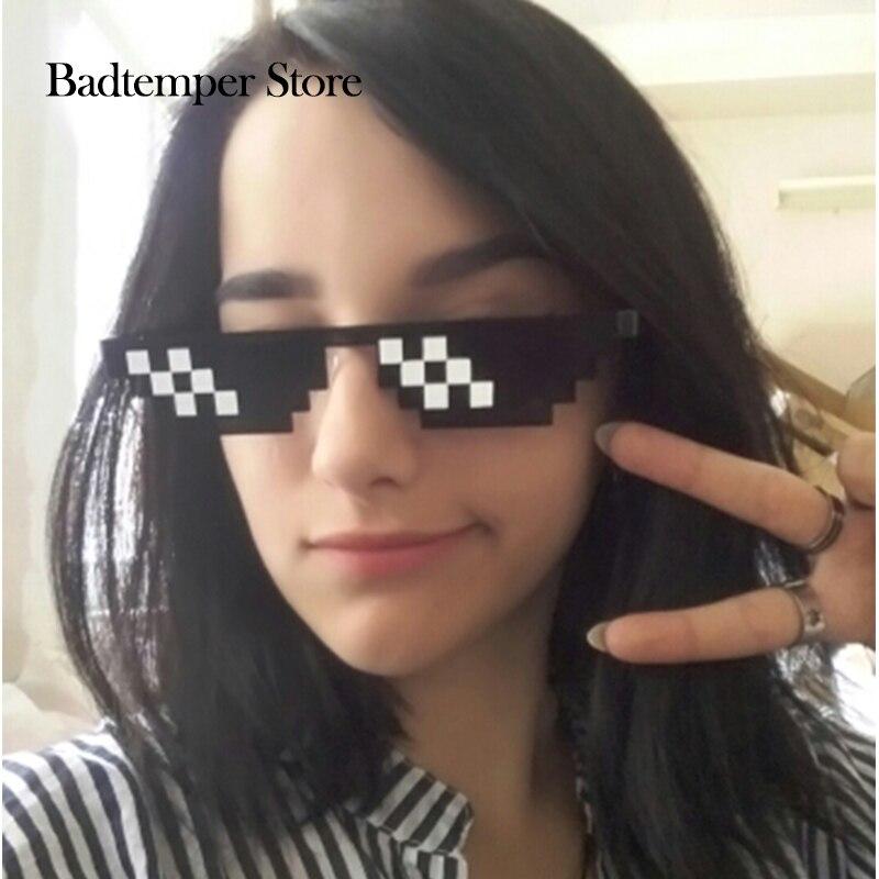 Badtemper Affaire Avec Il Lunettes Femmes Hommes Minecraft Polygonale Voyou Vie lunettes de Soleil Mosaïque Masculin 8 Bits Style Pixel Soleil En Verre