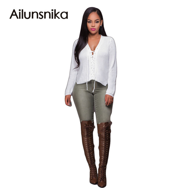 Ailunsnika 2017 Women Autumn New Arrival Hot Sale Sexy Fashion Full Sleeve  Tee Solid White V-neck Casual T-shirt OS6014