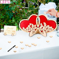 QIFU Double Heart Signature Guest Book Rustic Wedding Decoration Wedding Guest Book Wedding Event Party Decoration Supplies