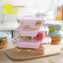 ONEISALL Glass Food Lunch Box with Bag Microwave Heating Heat Resistant Crisper Container Fruit Fresh