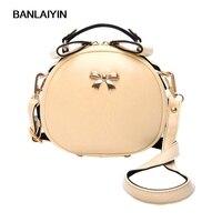 Bowknot Printing Bag Crossbody Bag Leather Bags Circle Of Women With Fur Ball Women Messenger Bag Beige