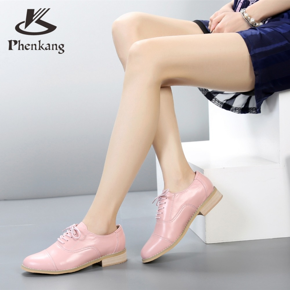 ФОТО Genuine leather big woman US 11 designer vintage 2.5cm shoes round toe handmade gold pink 2017 sping oxford shoes for women fur