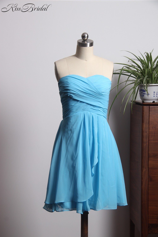 vestido para madrinha Beautiful Blue   Bridesmaid     Dresses   Cheap 2018 Elegant Short   Dress   Brides Maid Zipper Back