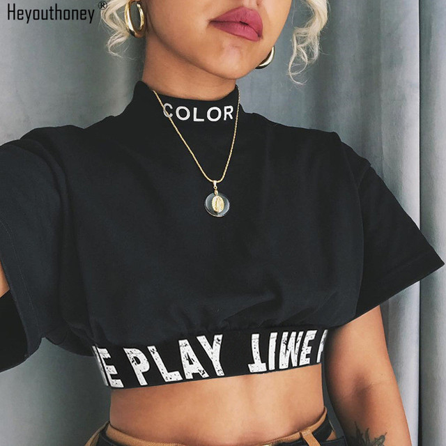 2edae0b1ae3 Heyouthoney summer 100 % cotton korean fashion casual black letter print  stand neck short sleeve t shirt t shirt tees crop tops