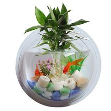 Fish Bowl Acrylic Wall Hanging Tank Aquarium Vase Plant Decorative Flower Pot Transparent Dust Ball Cover
