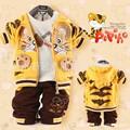 Детская одежда набор мальчик бархат мультфильм тигр глава вышитые 3 шт. набор костюм 3 цвета розничная