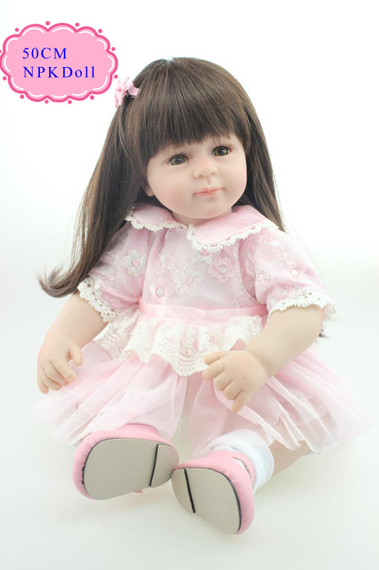 Princess 50cm 20 inch Reborn-Baby-Doll With Straight Long Hair Very Lovely  Silicone Toddler Dolls Girl Doll For Babies As Toys handmade chinese ancient doll tang beauty princess pingyang 1 6 bjd dolls 12 jointed doll toy for girl christmas gift brinquedo