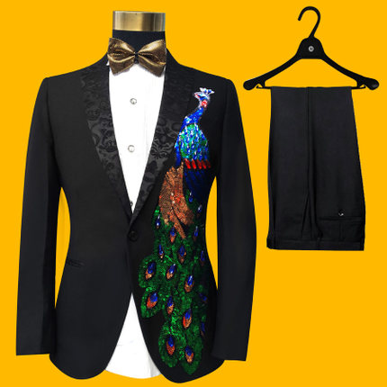 Free Ship 100%real Mens Bling Black Peacock Sequined Embroidery Event/stage Performance Tuxedo Jacket With Pants