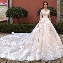 Neue Art Und Weise Oansatz Perlen Langarm A Line Hochzeit Kleid 2020 Appliques Königlicher Zug Spitze Prinzessin Braut Kleid Vestido de Noiva