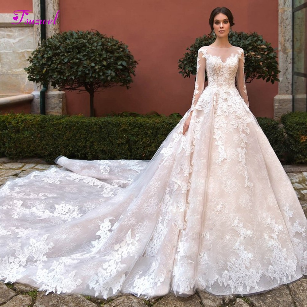 New Fashion O-neck Beaded Long Sleeve A-Line Wedding Dress 2019 Appliques Royal Train Lace Princess Bride Gown Vestido De Noiva