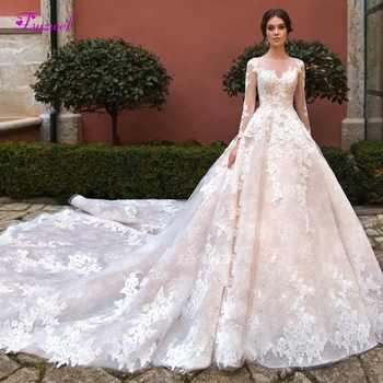 New Fashion O-neck Beaded Long Sleeve A-Line Wedding Dress 2019 Appliques Royal Train Lace Princess Bride Gown Vestido de Noiva - DISCOUNT ITEM  41% OFF All Category