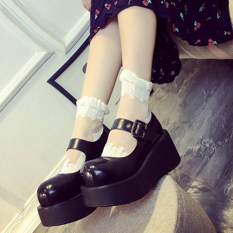 Big Round Toe Women Wedge Heel Lolita Shoes Adjustable Buckle Straps New 2017 Japanese Style Ladies Cos Wedges Platform bosch фен bosch phd5714 2000вт розовый