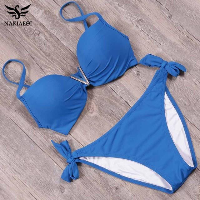 NAKIAEOI 2018 New Summer Sexy Bandage Bikinis Push Up Swimwear Women Brazilian Bikini Set Swimsuit For Women Bathing Suit S~2XL 2